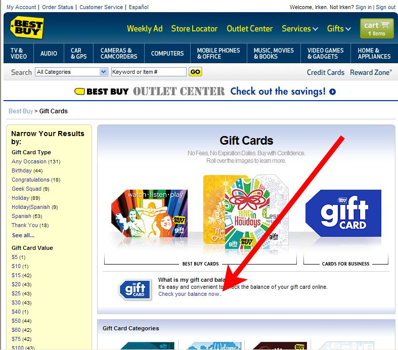 Checking Gift Card Balances